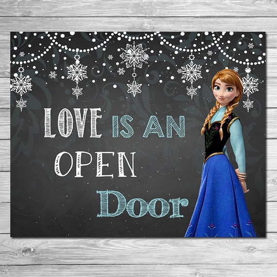 frozen love is an open door sign chalkboard anna frozen