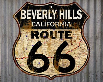 Beverly Hills, California Route 66 Vintage Look Rustic 12X12 Metal Shield Sign S122096