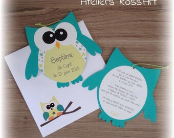 Invitation - shape menthol OWL birth announcement and green