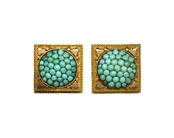 Victorian Turquoise Cluster Earrings