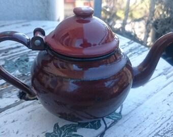 Vintage brown Enamel Tea Kettle, Enamel teapot