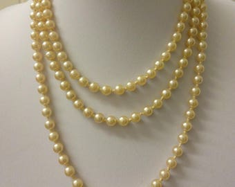 """Vintage Pearl Long Necklace,  Pearl Flapper Necklace, , Long Pearl Necklace, Art Deco Flapper Necklace, Knotted Pearl Necklace, 57"""""""