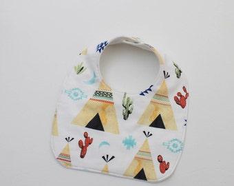 Tepee Baby Bib - Drooling Bib - Infant Bib - Early Feeding Bib - Boho Bib - Baby Boy Gift - Summer Baby Bib - Made 4U Handmade Designs