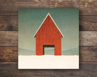 Snowy Red Barn Farmhouse Illustration by Ryan Fowler - Gallery Wrapped Stretched Canvas Wall Art  Signed