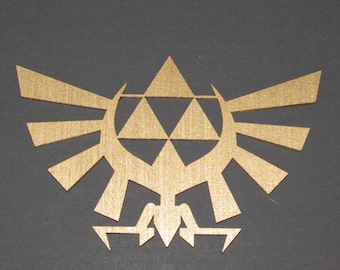 Golden Legend of Zelda Winged Triforce Wooden Wall Decor