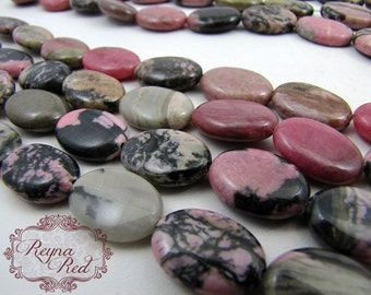 Natural Rhodonite Smooth Oval Beads, pink grey gemstone beads, gemstone strands, natural gemstones, oval beads - reynaredsupplies