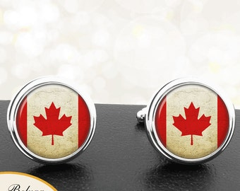 Canadian Flag Cufflinks Country of Canada Red Maple Leaf Handmade Cuff Links