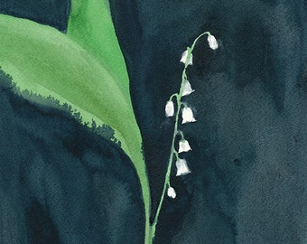 Le courage de rappeler 2: étude de Lily of the Valley, 2/3, peinture d'aquarelle florale originale, 8 x 10 pouces