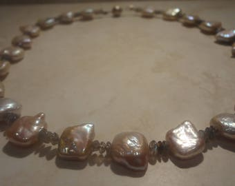 pearl with labradorite necklace with silver  clasp