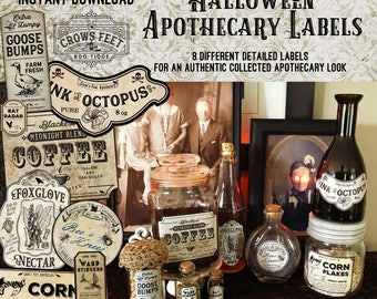 Vintage Look Witch Potion Labels, Halloween Apothecary Labels for Jars, Printable, Collection #6