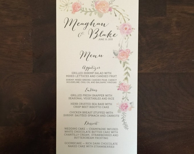 4x8 Water Color Floral Wedding Table Dinner Menu on Ivory Paper