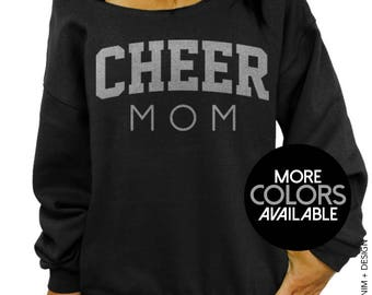 Cheer Mom, Mother's Day Gift, Women's Sweater, Off the Shoulder, Oversized, Slouchy Sweatshirt, Sports Mom, Mommy, Cheer Leading Mother Top