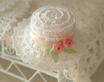 shabby chic dollhouse miniature hat straw