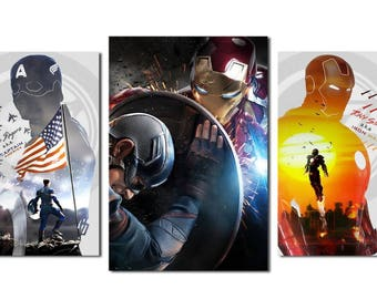 Captain America Iron Man Modular Pictures Poster Prints Canvas Painting Home Decor Wall Art Gift Ideas