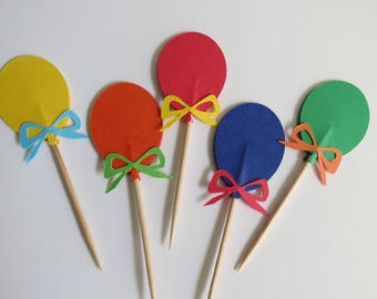 Balloon Cupcake Toppers - Food Picks - Primary Colors