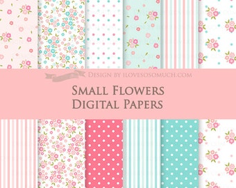 Flower / Small Flowers  Digital Paper Pack - Instant  Download - DP099