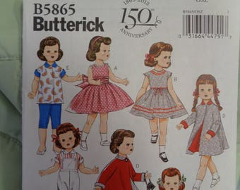 """18"""" AG Doll Clothes Pattern, Butterick 5865- Retro doll Clothes  Dresses fits american Girl Dolls"""