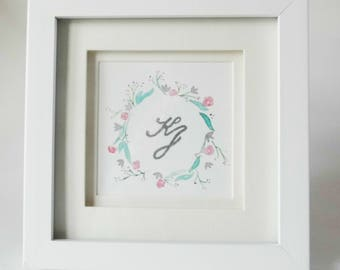 Watercolour Floral Wreath with Monogram 'Katie'