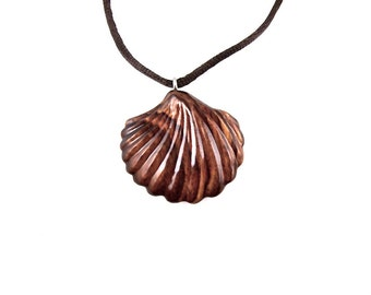 Wooden Shell Pendant, Shell Necklace, Seashell Necklace, Sea Shell Pendant, Wooden Clam Pendant, Carved Shell Jewelry, Wood Jewelry Beach