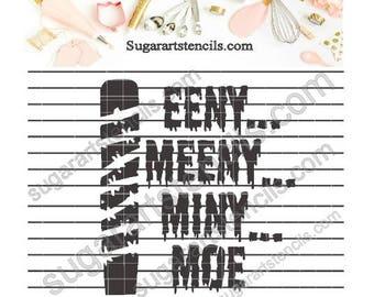 Walking Dead Eeny meeny miny moe Negan cookie Stencil Nb1606