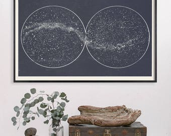 Star Map, Star Chart Print, Double Constellation, Hemispheres, Milky Way, Large Art, Loft Art, Large Horizontal, Circles, Library Art, Slate