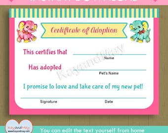 Pet adoption certificate instant download printable pet elephant adoption certificate instant download cute printable adoption certificate pink aqua elephants pdf yadclub Gallery