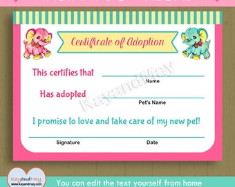Adoption certificate for baby doll stuffed animal pet and more elephant adoption certificate instant download cute printable adoption certificate pink aqua elephants pdf yadclub Choice Image