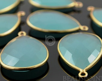 Aqua Blue Chalcedony, Bezel Pear Shape Chalcedony Component,  Gold Vermeil ,  22x30mm 1 Piece, (BZC7306)