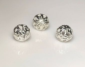 Beads, Silver Filigree, Bead Cage, 18 mm Round, Nickel Free, Choice of Quantity