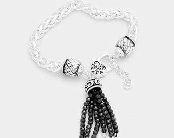 Antique Silver bracelet with Black Beaded Tassel Charm