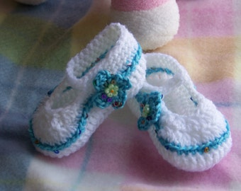 Baby Booties/Shoes Teal 0 to 3 months