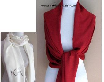 Crimson Red Pashmina Scarf Wedding Pashmina Bridal Shawl Bridesmaid Gift Idea Womens Scarf Wrap Bridal Accessories or CHOOSE Your Color