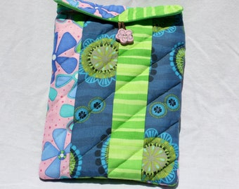 Striped Tablet Pouch, Quilted Large E-reader Case, Pink Navy and Green Tablet Cover, Floral E-reader Case, 8 inch Tablet Case
