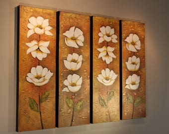 White Carnation Blossom Acrylic Painting White Beige Quadriptych Canvas Palette Knife White Carnation Flower Canvas Art White Wall Art Deco