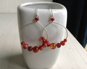 Red earrings with silver wire and glass beads