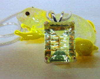 Citrine Necklace - Fantasy Laser Cut Yellow VVS Citrine & Sterling Silver Necklace - Very Special Natural Citrine