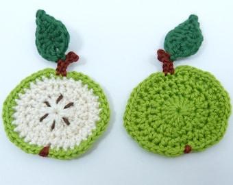 Crochet applique, crochet fruit, 2 small green crochet apples, Cardmaking, scrapbooking, appliques, handmade, sew on patches embellishments