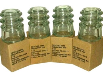 Set of 4 Mint Condition Clear Glass Armstrong #3 Insulator, New-Old Stock (NOS), Original Packaging from Decades Ago.