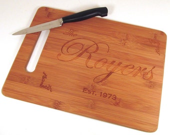 Personalized Cutting Board - Family Name Bamboo Cutting Board - Choose Your Size