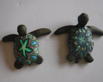 Sea turtles Magnets, Polymer Clay -- Choose One