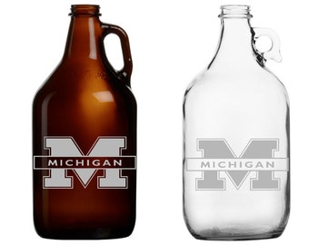 Michigan - Beer Mug - Pint Glass - Growler - Etched