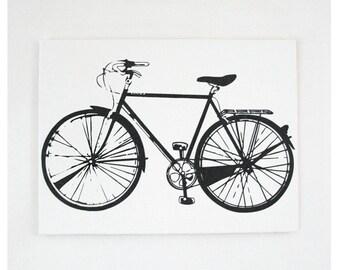 Bike Print 20 x 16 Inch Bicycle Screen Print Wall Art