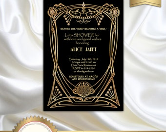 Great Gatsby Style Art Deco Bridal Shower Invitation, Black and Gold, Roaring Twenties, 1920's, 20's Style - Black and Gold - Printable DIY