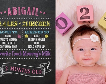 Baby Monthly Milestones, Baby Milestones, Month by Month Posters, Chalkboard Personalized Posters, 12 DIGITAL FILES