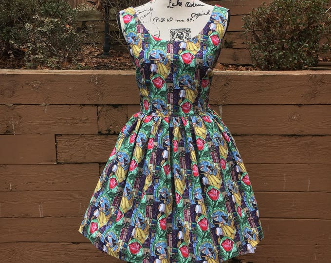 Claudia Dress in Beauty and the Beast Fabric