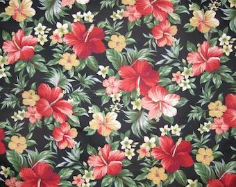 Hawaiian Fabric - Red Floral Print