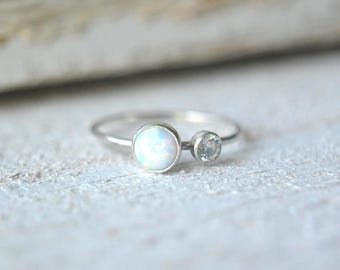 Silver Opal Ring- Opal Ring Silver, Opal Stacking Ring, Stacking Opal Ring, Opal Silver Ring, Dainty Opal Ring, Two Gemstone Ring