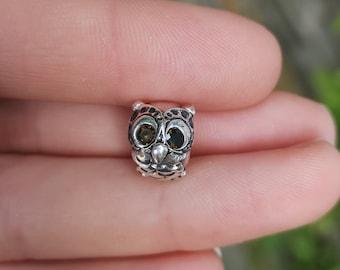 Fine silver owl charm, fits pandora and similar bracelets