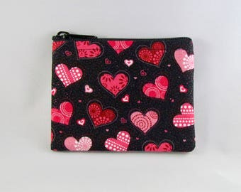 Glitter Hearts Coin Purse - Coin Bag - Pouch - Accessory - Gift - Gift Card Holder