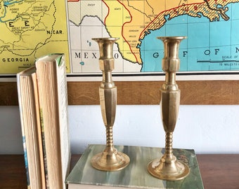 Brass candle holders. Set of brass candle stick holders.